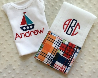 Baby Boy Personalized Gift Set - Bodysuit and Burp Cloth, Sailboat