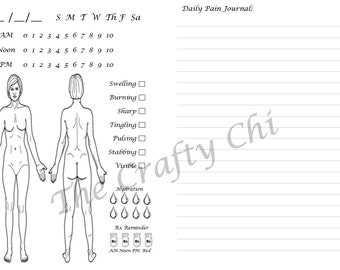 Female Pain Journal for TN, Traveler's Notebook, digital download Printable , A6