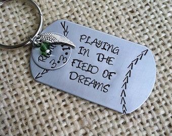Memorial Keychain Baseball Keychain Military Tag Keychain Personalized Gift for Him Angel Wing Keychain