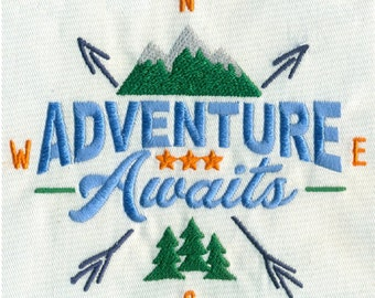 "5""W Large - Adventure Awaits with Mountains, Trees and Arrows Embroidery Design - Instant Digital Download"
