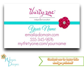 Thirty-One Gifts Business Card, Direct Sales Marketing, Independant Consultant, Directs Sales Business Card
