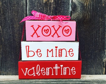 Valentine's Day wood blocks, Xoxo, be mine, valentine, Valentine's Day blocks, be mine blocks, XoXo blocks, love blocks