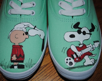 For Sale Just finished painting New Snoopy Design snoopy and Joe cool playing a guitar size 9.5 womens READY TO SHIP