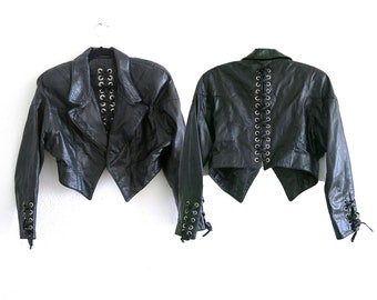 Lace Up Leather Jacket / 80s Cropped Leather Jacket