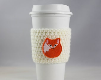 Oh For Fox Sake - cup cozy - coffee cup cozy - white - crochet coffee sleeve - reusable cozy
