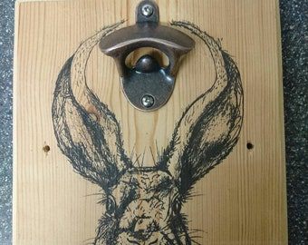 Rabbit bottle opener plaque