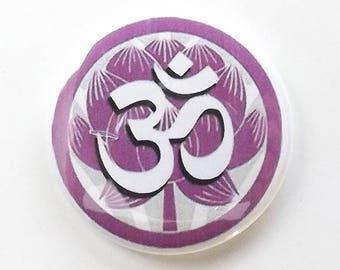 Magnet, Om, Lotus, spiritual, Buddhism, meditation, peace, tranquility, button pin, coaster, fridge magnet, housewarming gift