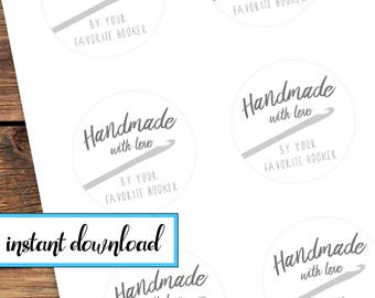 printable stickers, Handmade with love by your favorite hooker, crochet gift stickers, avery round labels, black and white, gray, crochet