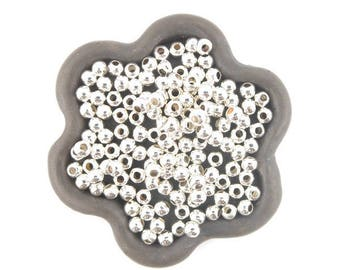 x 500 beads 3mm round silver-plated clear (119D)