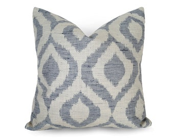 Blue Ikat Pillows, Ikat Pillow Covers, Blue White Pillows, Ikat Cushions, Blue Pillow Case, Cream Pillow, Blue Throw Pillows, All Sizes, NEW