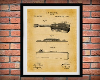 Patent 1893 Acoustic Guitar - Rock Band Instrument - Music Room Art - Orchestra Art -