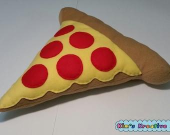 Cute Pepperoni Pizza Pillow Plush Handmade Fleece