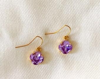 Swarovski Purple Crystal Earrings Gold Plated 10mm Crystals