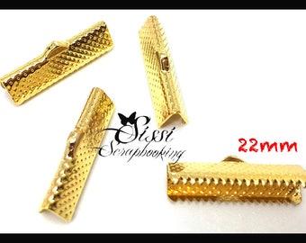 LOT 10 gold flat ribbon clip crimp creating jewelry DIY shamballa cord 22mm