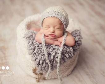 Silver Bonnet Photo Prop Christmas Newborn Baby Going Home Hat Hand Knit Girl Shower Gift Coming Outfit Knitted Infant Photography Organic
