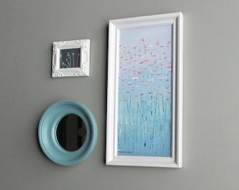wall art collage - Springtime Turquoise - original abstract painting - home decor