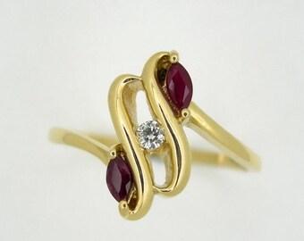 Ruby Diamond Love ring, Promise ring, Friendship ring.