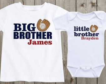 Matching shirts sibling shirts set of 2 i love my big brother matching shirts set of 2 sibling shirts big brother little brother personalized shirts baseball sports theme negle Image collections