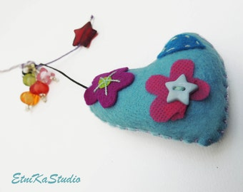 blue Felt Hanging HEART with colorful beads, decoration, hanging ornament