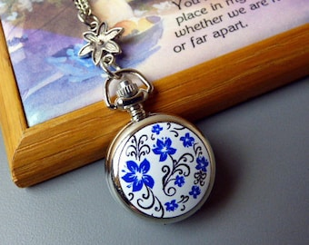"""Pocket Watch Necklace, 18th Century Forget-Me-Not Flower Locket Necklace, 20-32"""" Silver Chain, Antique Style Jewelry"""
