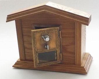 Vintage Post Office brass mail box door retirement father's day gift frame keyless combination lock safe bank home decor mantel hiding stash