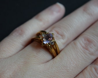 Purple Amethyst Cubic Zirconia Reversible Ring Vintage