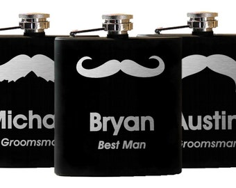 Personalized Mustache Flasks, Set of 10, Engraved Moustache Flask, Custom Moustache Flask - Groomsmen Gift