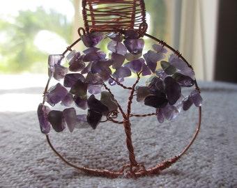 Copper and Amethyst Tree of Life Suncatcher/Pendant