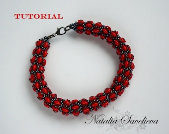 Beading Tutorial, Red Bracelet, Jewelry Tutorial, Bead Pattern PDF, Instant Download.