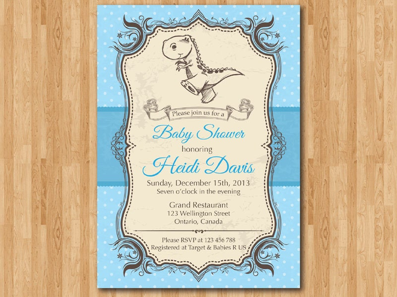Dinosaur Baby Shower Invitation. Blue or Pink. Baby Boy or Girl ...