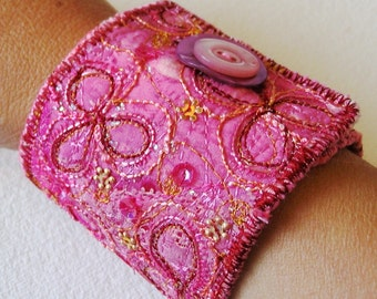 Embroidery Pattern How To Tutorial Pdf Textile Jewellery Cuff Bracelet by Artist Jill Amanda Kennedy Free Motion Machine Embroidery Project