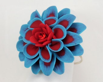 Dahlia Ring - Hand Sculpted Petals Many Colors Available