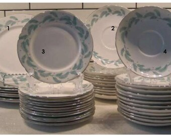 Vintage Shelley Serenity - Aqua Silver Feathers - England - Breakfast & Coffee cup saucer - Fruit and Salad plates