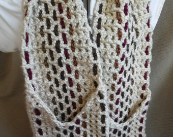 Pocket Scarf, Woven Crochet - Tan & Browns Hometown