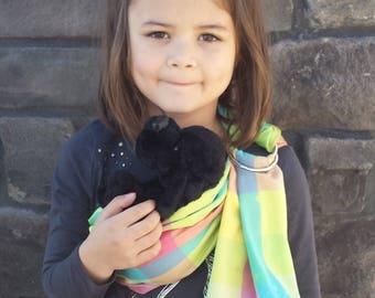Doll ring sling, shiny multi colored taffeta, toddler sling