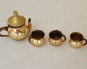 Vintage miniature  5 pc. Brass tea service set -Tea Pot creamer and (2) mugs