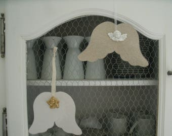 set of 2 Angel wings made of paper with Cherub head no. 2
