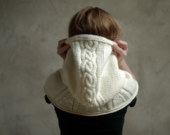 Hand knitted chunky hood - hooded scarf - winter fashion