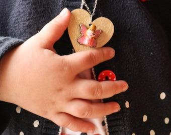 Pendant mini Butterfly iridescent heart girl doll