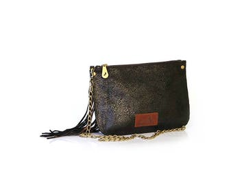 Leather Clutch, Clutch, Fringe Purse,Bag with Monogram,Personalized Purse, Fringe Bag, Black Leather Bag, Leather Fringe Bag,Crossbody Purse