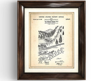 SNOW MACHINE | 1954 | Method for making & distributing snow | Patent Print |  Fake snow Print | Snow Making Patent | Ski Chalet Art | Skiing