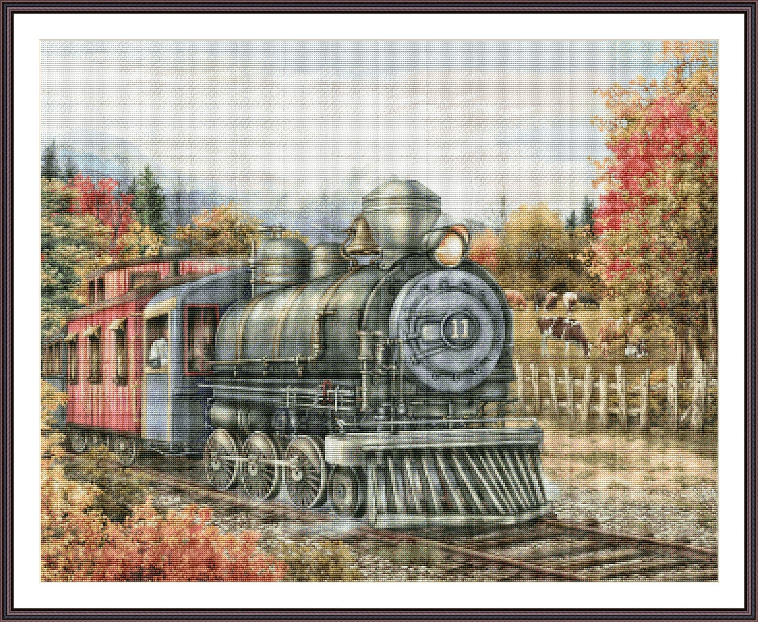 Counted Cross Stitch Pattern Cross Stitch Train Large