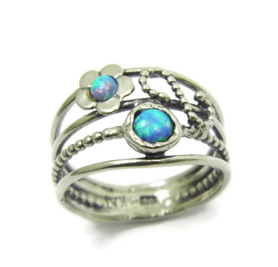 Items Similar To Opal Ring Exquisite Braided Opal: Items Similar To Opal Ring. Floral Sterling Silver Opal