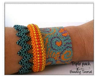Beading Pattern, Trio Bangle Patterns in one , Beaded Bangles Tutorial,  DIY Beaded Jewelry,   3 BANGLES