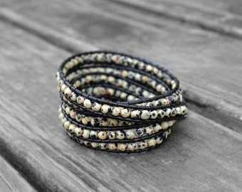 Leather Bracelet Leopard Stone Wrap Bracelet Charm Bracelet Leather Wrap Bracelet Gift For Her