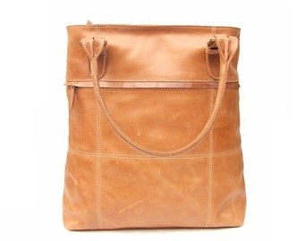 women leather Tote bag with pockets and zipper top