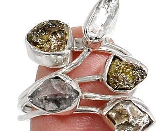 Authentic Naturally Formed Herkimer Diamond, Campo & Moldavite Meteorite Specimen Ring in Sterling Silver. Size 9. 5040