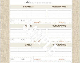 """Life's Lists Printable 8.5""""x11"""" Letter Size Food Tracking List"""