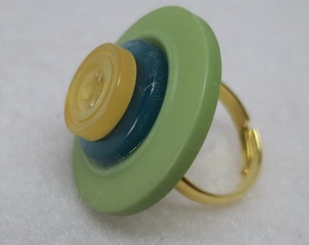 Green yellow adjustable button ring,green button ring,green adjustable gold plated button ring,adjustable gold plated ring,gift,teens,women,