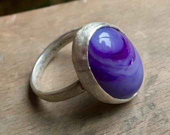 Ahoy! Sterling Silver ring with oval purple Agate